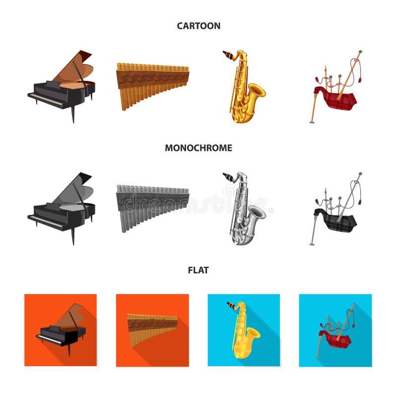 Vector design of music and tune symbol. Collection of music and tool stock symbol for web. Vector illustration of music and tune sign. Set of music and tool vector illustration
