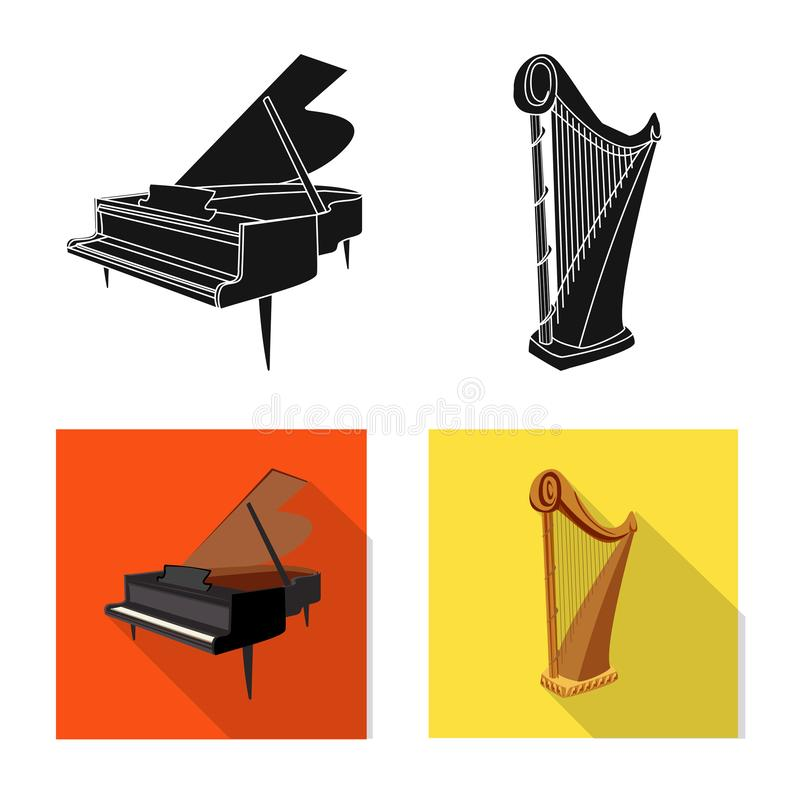 Vector design of music and tune symbol. Collection of music and tool stock vector illustration. Vector illustration of music and tune sign. Set of music and royalty free illustration
