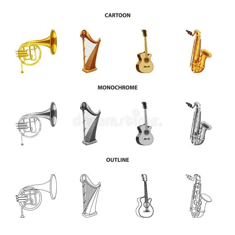 Vector design of music and tune symbol. Collection of music and tool stock symbol for web. Vector illustration of music and tune sign. Set of music and tool royalty free illustration