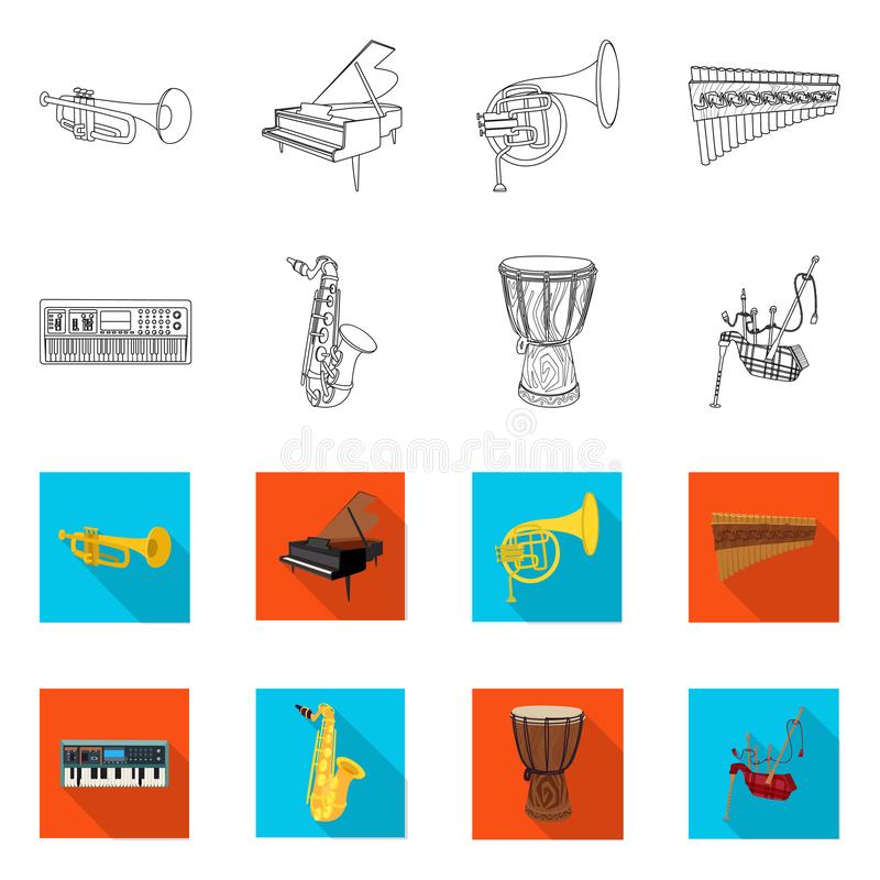 Vector design of music and tune icon. Set of music and tool stock vector illustration. Vector illustration of music and tune symbol. Collection of music and royalty free illustration