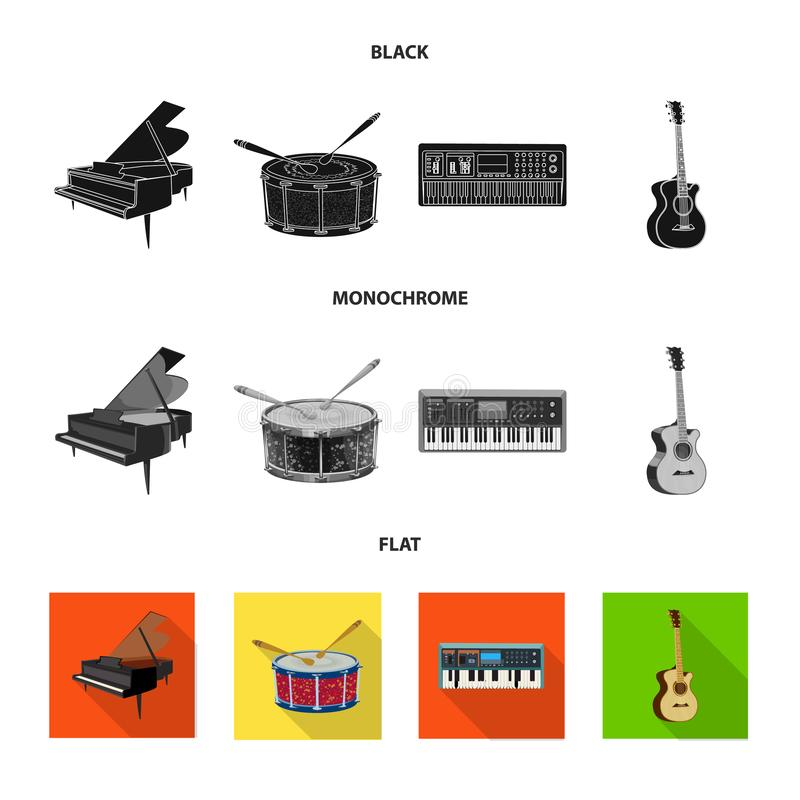 Vector illustration of music and tune symbol. Set of music and tool stock symbol for web. Isolated object of music and tune sign. Collection of music and tool stock illustration