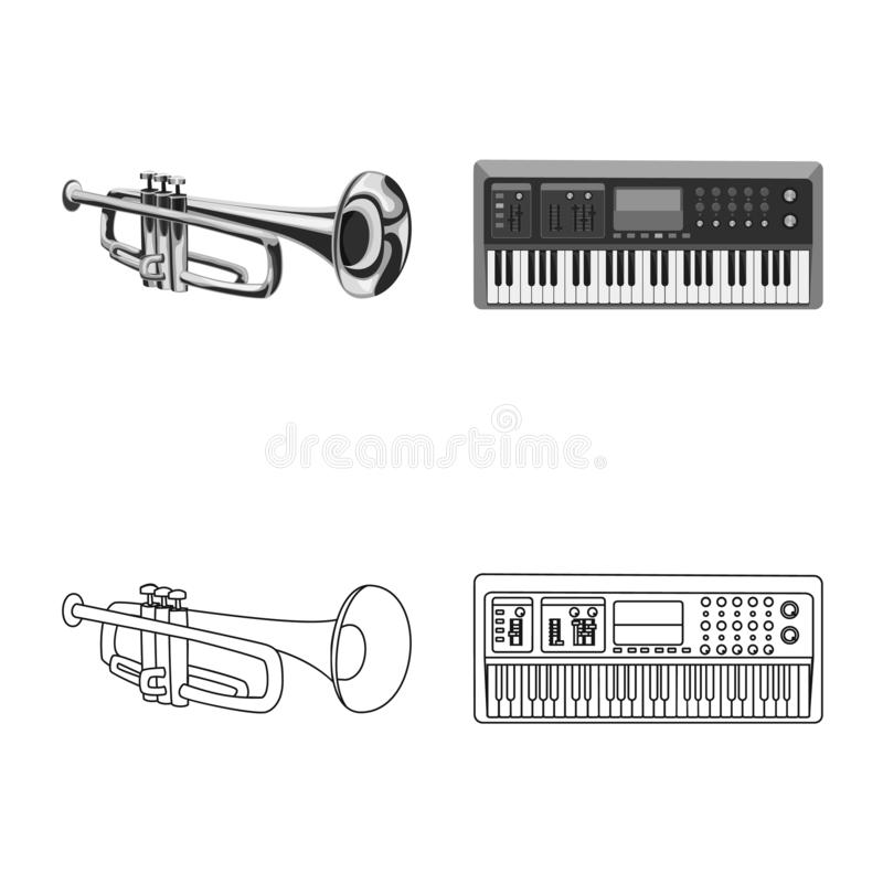 Vector design of music and tune icon. Collection of music and tool vector icon for stock. Vector illustration of music and tune symbol. Set of music and tool royalty free illustration