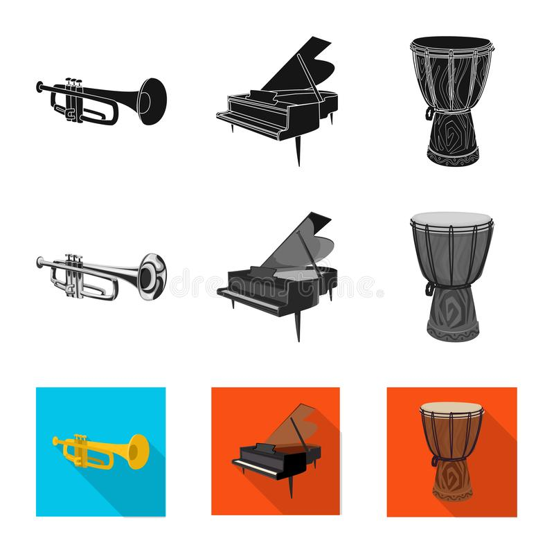 Vector illustration of music and tune symbol. Set of music and tool vector icon for stock. Isolated object of music and tune sign. Collection of music and tool vector illustration