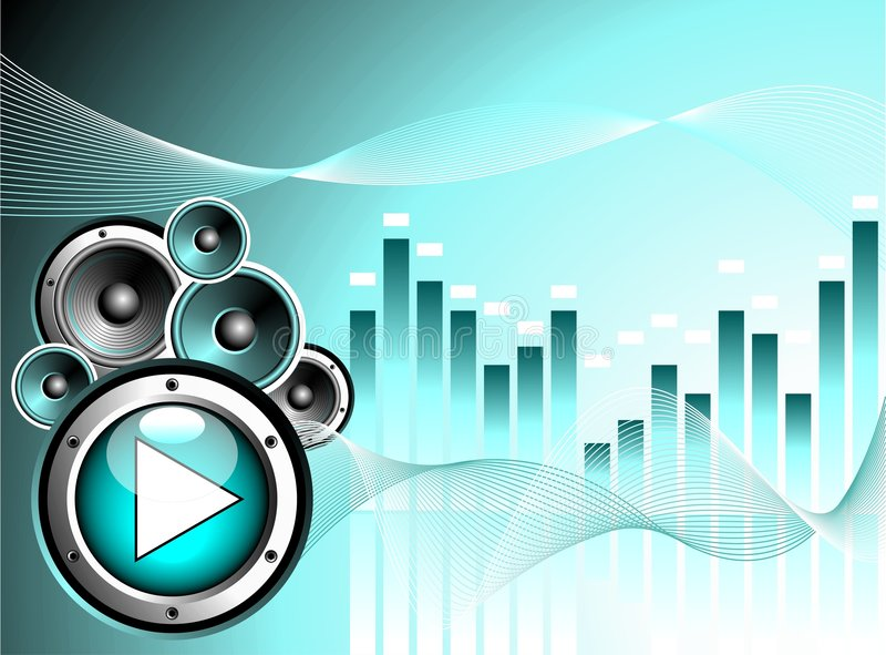 Vector illustration for musical theme. With play button and speakers stock illustration