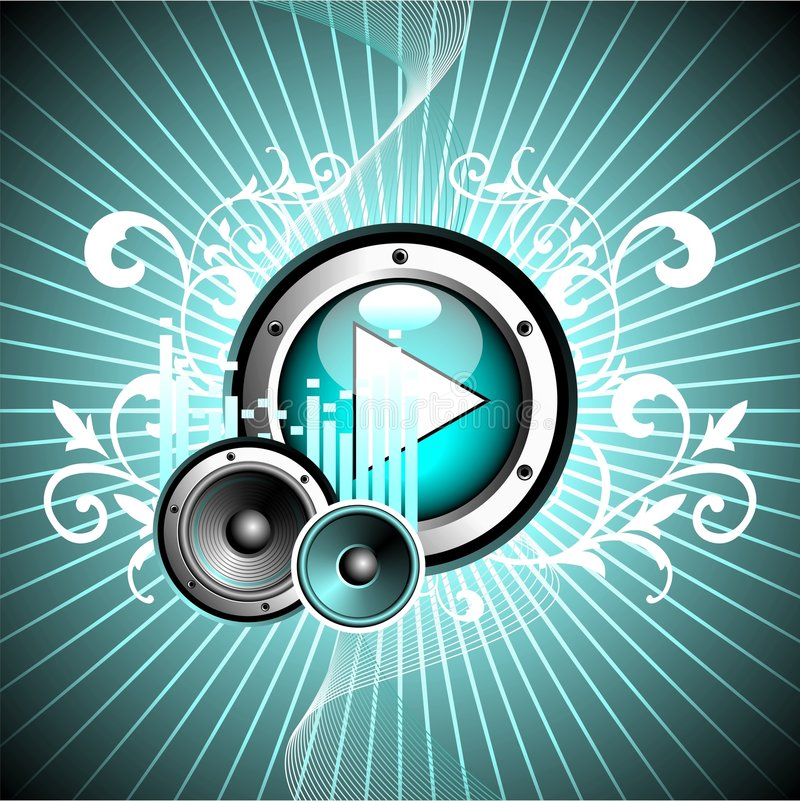 Vector illustration for musical theme. With play button and speakers vector illustration