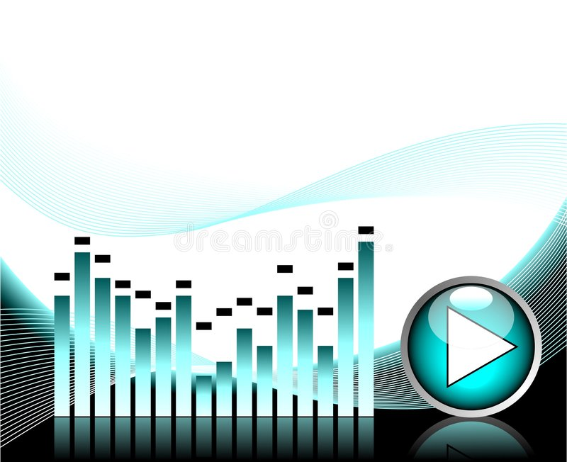 Vector illustration for musical theme. With play button stock illustration