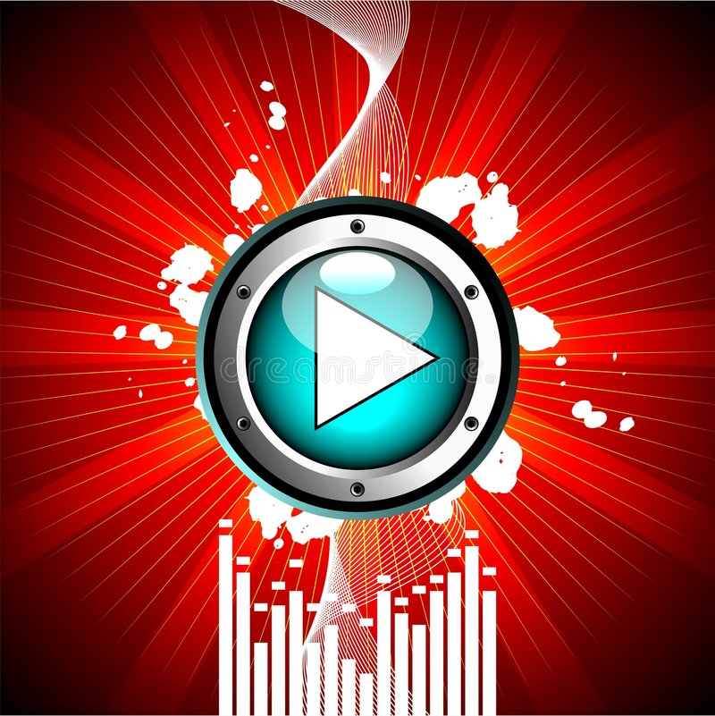 Vector illustration for musical theme. With play button vector illustration