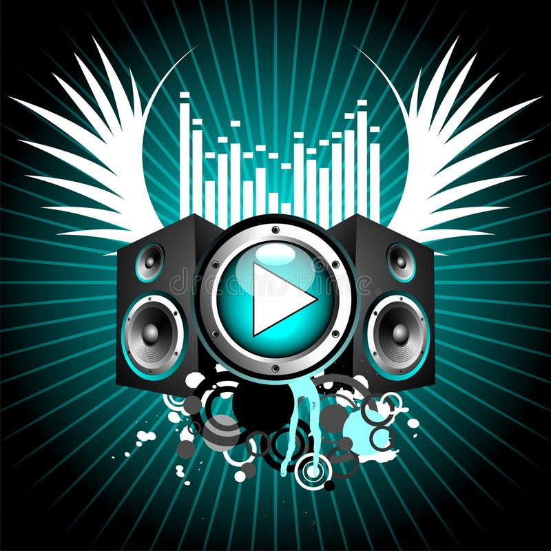 Vector illustration for musical theme. With play button and speakers royalty free illustration