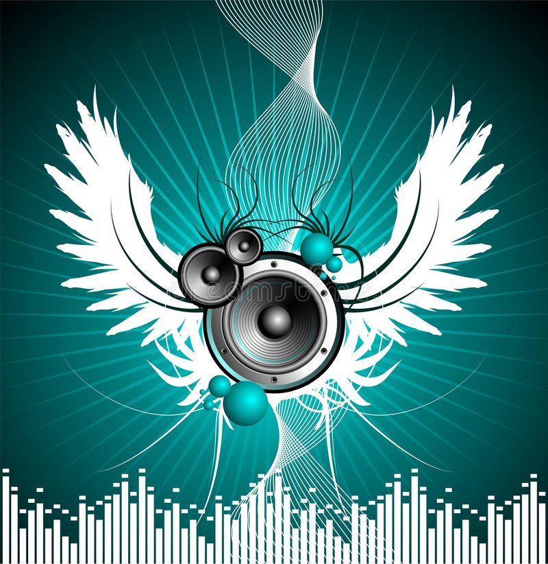 Vector illustration for musical theme. With speakers and wing stock illustration
