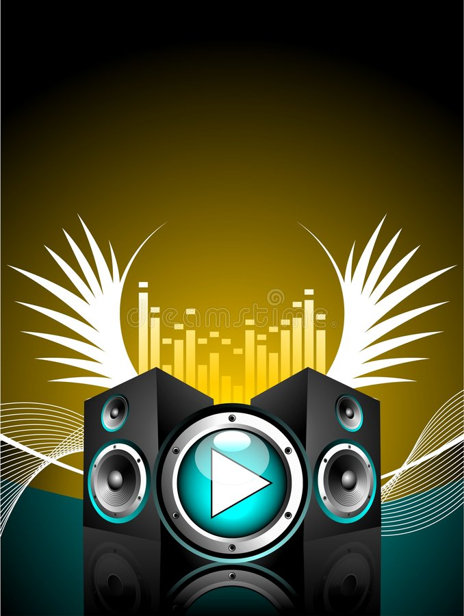 Vector illustration for musical theme. With speakers and wing royalty free illustration