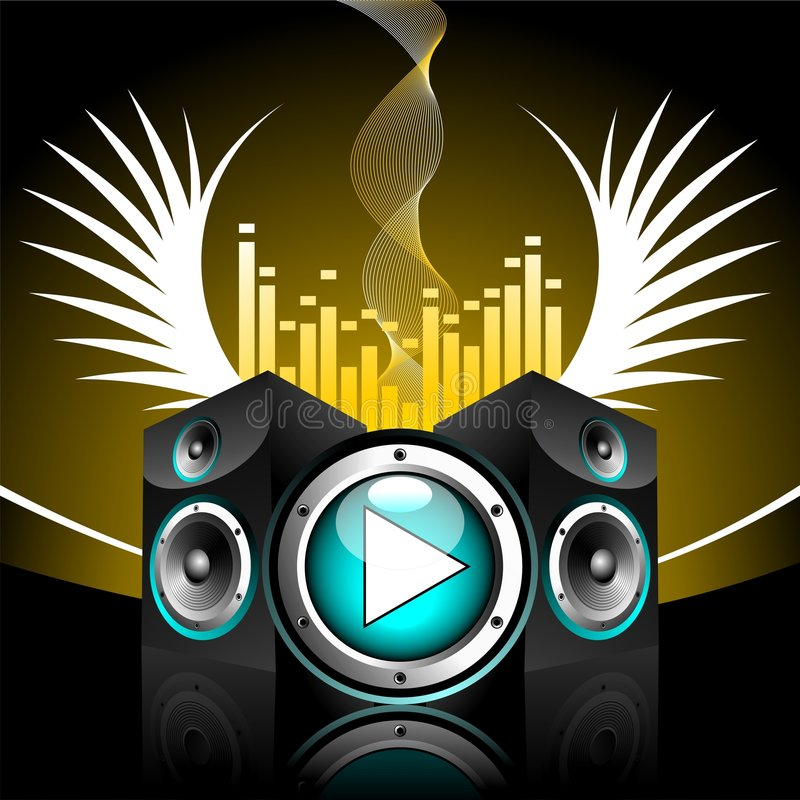Vector illustration for musical theme. With speakers and play button royalty free illustration