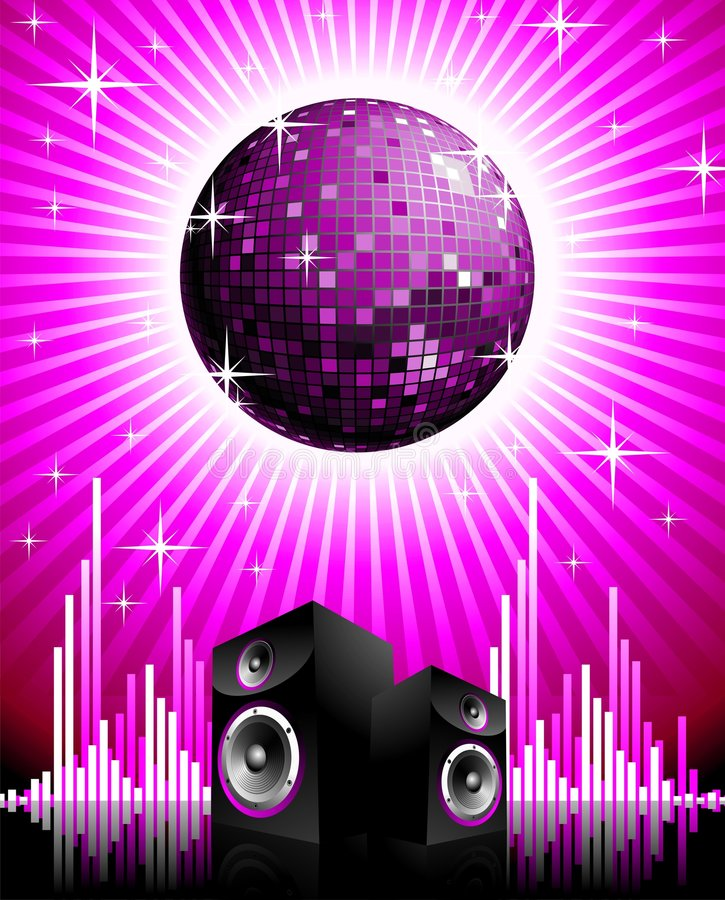 Vector illustration for musical theme. With speakers and disco ball stock illustration