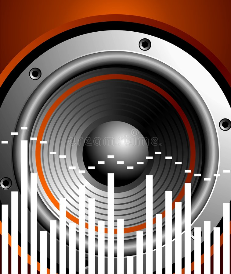 Vector illustration for musical theme with speaker. On red background vector illustration