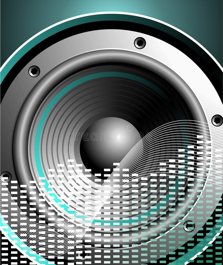 Vector illustration for musical theme with speaker. On blue background royalty free illustration