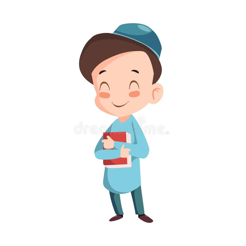 Vector - muslim boy. Vector illustration of muslim boy wearing blue koko shirt vector illustration