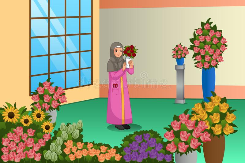 Muslim Florist Working at the Store Illustration. A vector illustration of Muslim Florist Working at the Store royalty free illustration
