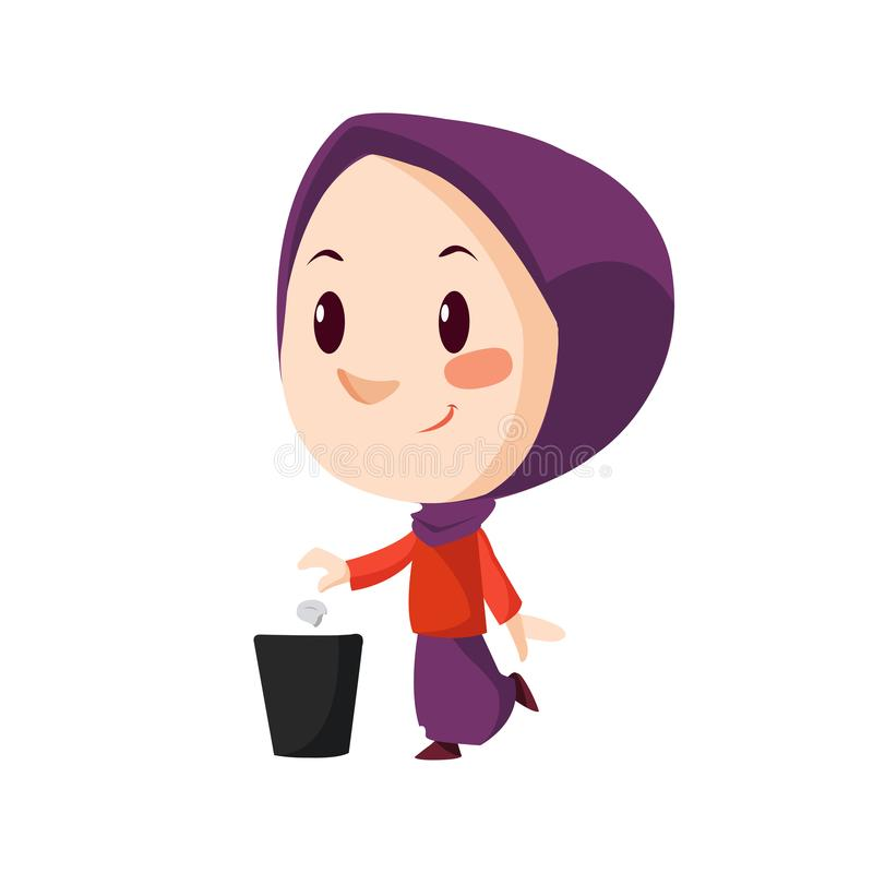 Vector - muslim girl. Vector illustration of muslim girl throwing trash royalty free illustration