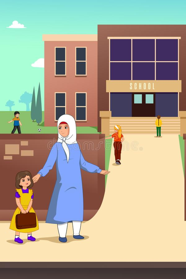 Muslim Mother with her Daughter in School Illustration royalty free illustration
