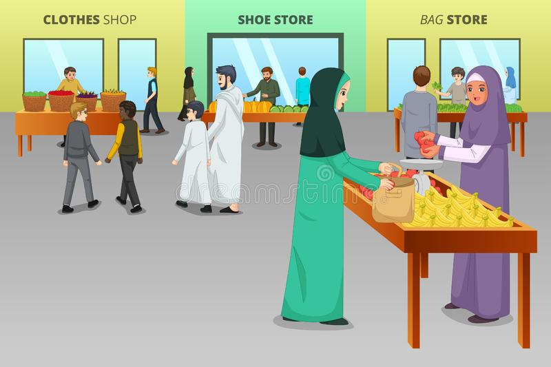 Muslim People Shopping at a Traditional Market vector illustration