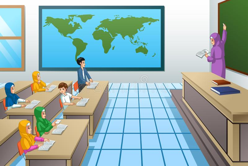 Muslim Students and Teacher in Classroom Illustration vector illustration
