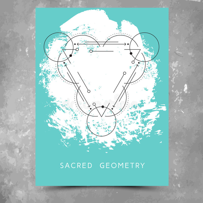 Vector illustration of a mystic sign. Vector geometric alchemy symbols with phrase on hand drawn background with splash of aqua blue paint. Abstract occult and vector illustration
