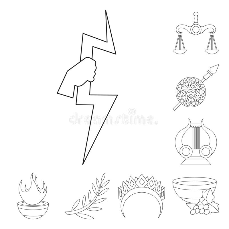 Vector design of mythology and god logo. Set of mythology and culture vector icon for stock. Vector illustration of mythology and god icon. Collection of stock illustration