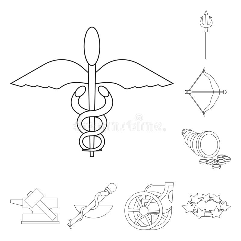 Vector illustration of mythology and god icon. Set of mythology and culture stock symbol for web. Isolated object of mythology and god symbol. Collection of royalty free illustration