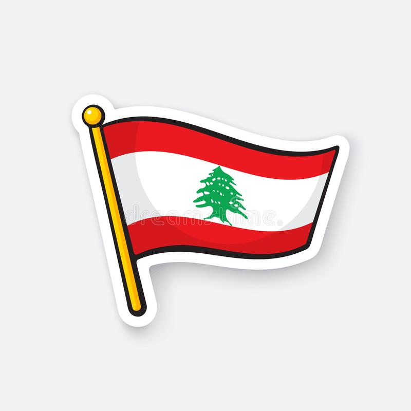 Sticker flag of Lebanon on flagstaff. Vector illustration. National flag of Lebanon on flagstaff. Location symbol for travelers. Sticker with contour. Decoration stock illustration