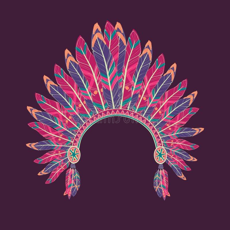 Vector illustration of native american indian chief headdress vector illustration