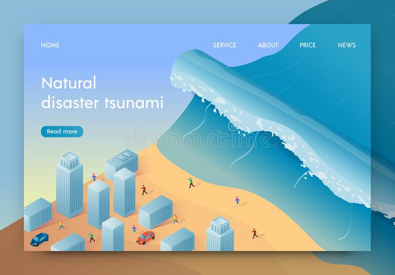 Vector Illustration Natural Disaster Tsunami. High Wave is Approaching Big City. People are Fleeing From Natural Disaster. Coastal City Disaster. Life vector illustration