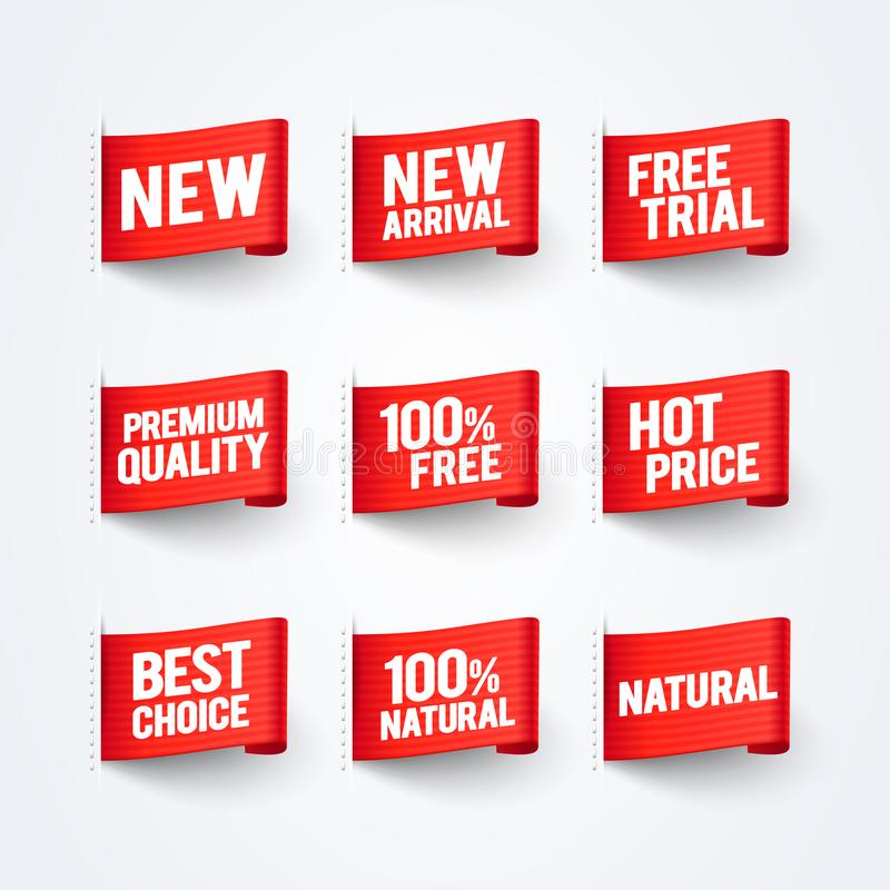 Free Vector Illustration New Arrival, 100 Free, Natural, Premium Quality, Best Price Label Flag Set Royalty Free Stock Photo - 115307655
