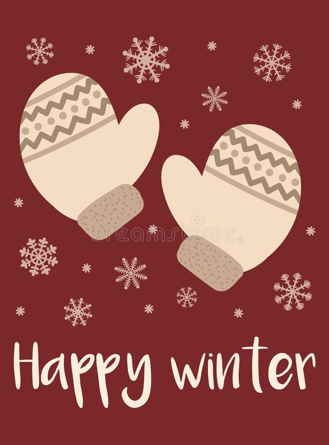 Vector illustration for New Year and Christmas. Hand-drawn cartoon image of a beige-colored mittens and snowflakes on a red backgr stock illustration