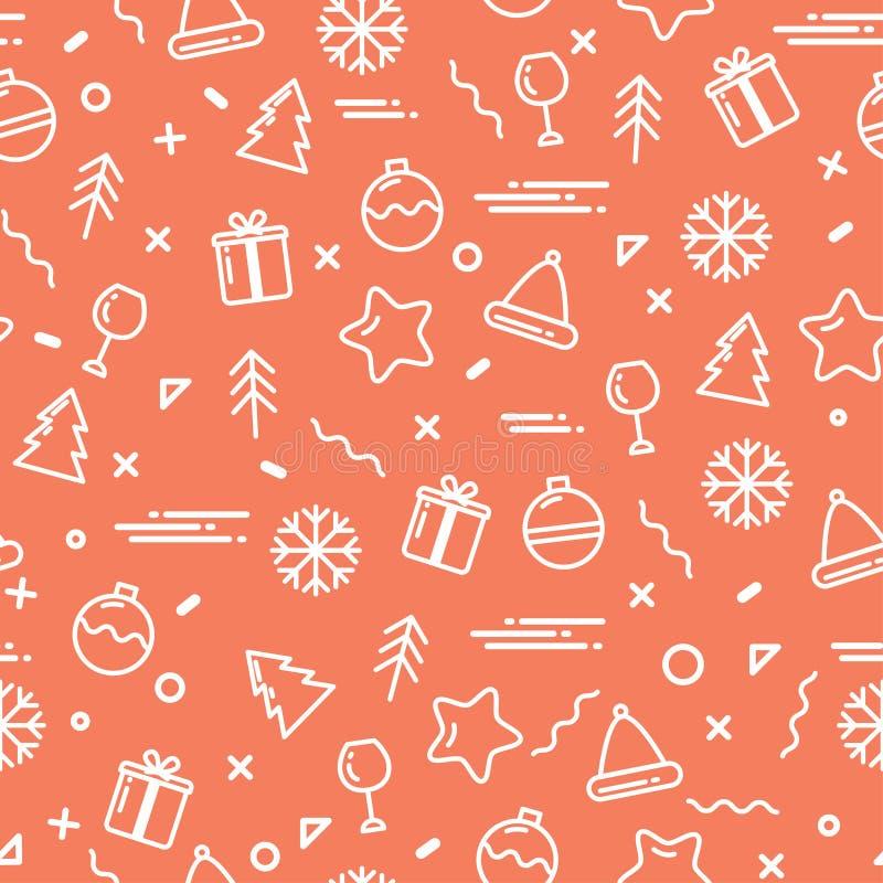 Vector illustration new year display seamless background. stock illustration