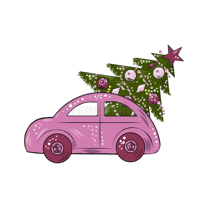 Vector illustration. New Year theme, Christmas tree delivery home. Stylish pink car with a Christmas tree . Minimalism, View fr stock illustration