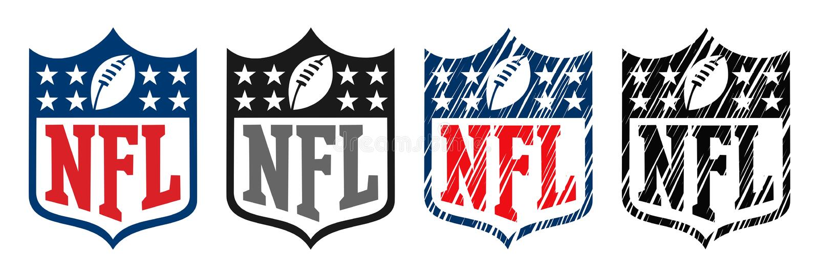 NFL logo. Vector illustration of the NFL national football league logo isolated on white background - classic official version and grunge doodle style modern