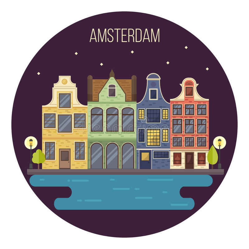 Vector illustration of night Amsterdam cityscape. Traditional Dutch landscape. Houses in the old European style. Netherlands card stock illustration