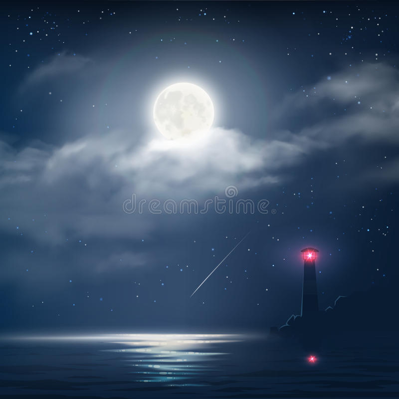 Vector illustration of night cloudy sky with stars, moon and sea with lighthouse vector illustration