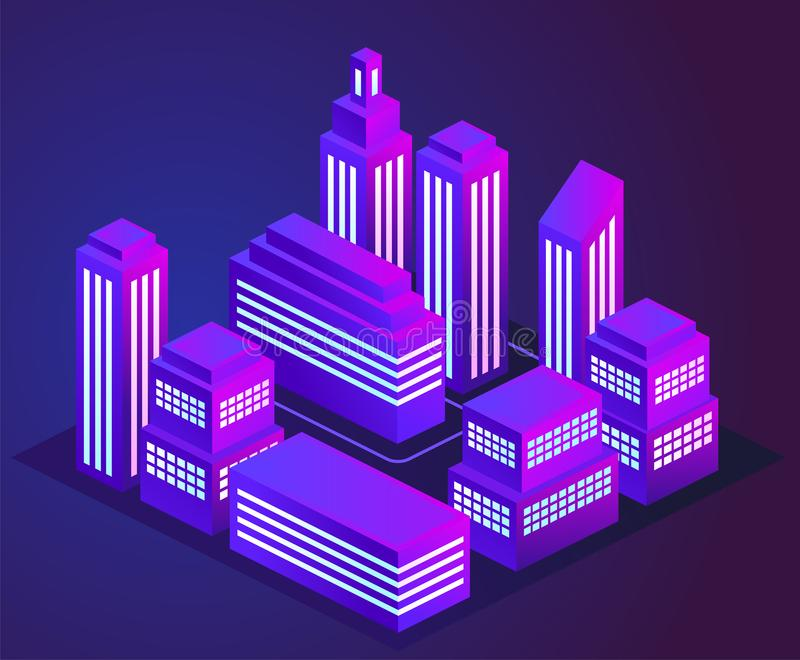 Vector illustration of a night glowing neon city. Bright and glowing neon purple and blue lights. Neon city landscape. stock illustration