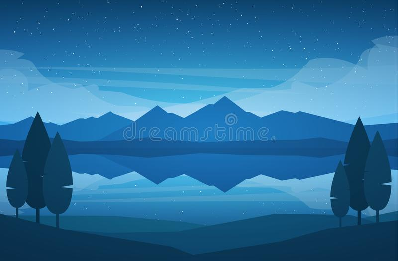 Vector illustration: Night Mountains Lake landscape with stars, reflection and trees on foreground.  vector illustration