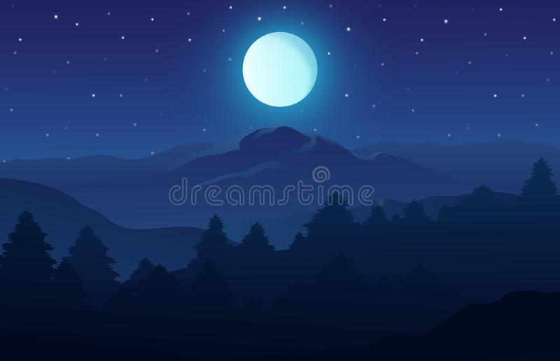 Vector illustration of night time nature landscape in the forest with a Mountain, Full moon and a Starry sky royalty free illustration