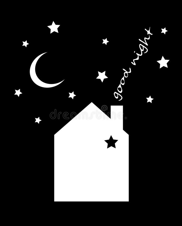 Vector illustration of night time nature landscape with house, sky, falling stars and inscription `Good night`. Vector Illustration, winter elements. new year stock illustration