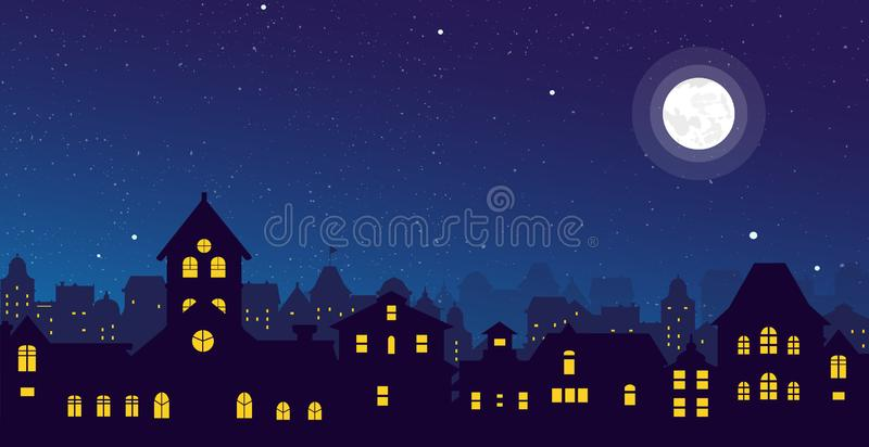 Vector illustration of the night town skyline with a full moon over urban houses rooftops in flat style. stock illustration