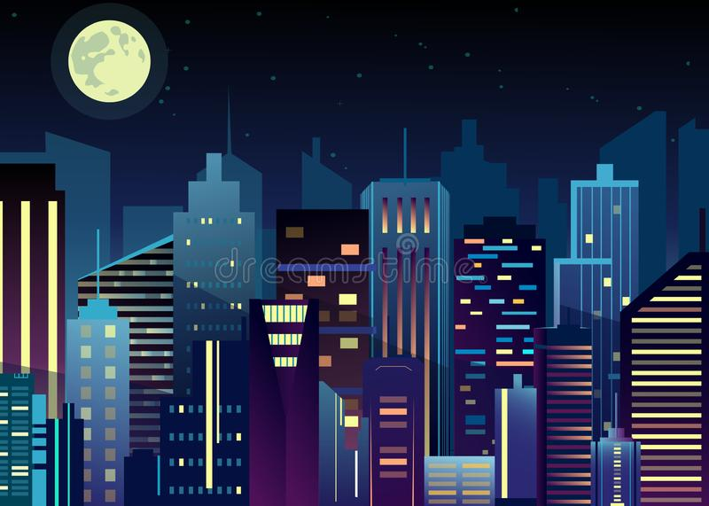 Vector illustration of night urban city landscape. Big modern city with skyscrapers in night time with lights in. Abstraction flat cartoon style vector illustration