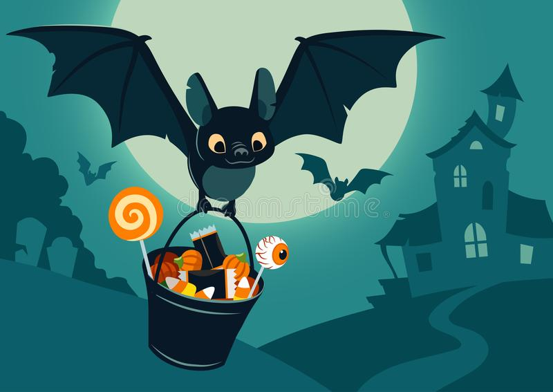 Vector illustration of nighttime Halloween scene, cute bat flying with bucket full of candy, with full moon, haunted house, fores royalty free illustration