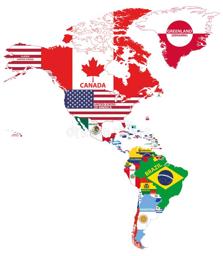 Vector Illustration Of North And South America Map With Country