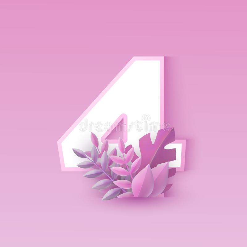 Vector illustration of number four pink elegant design with tree leaves isolated on tender background stock illustration