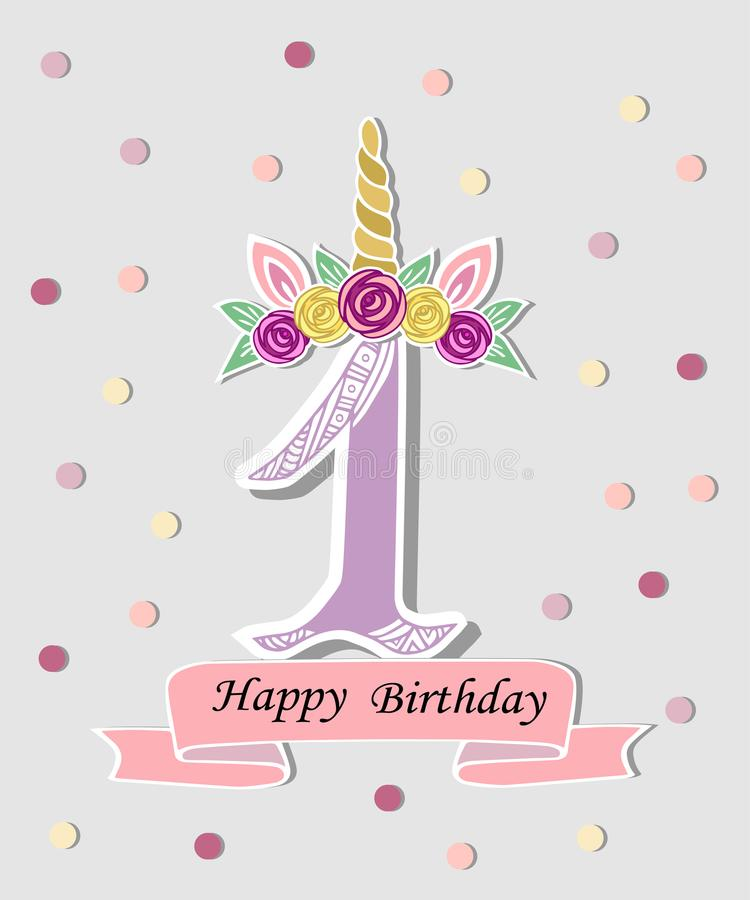 Vector illustration with number One, Unicorn Horn, ears and flower wreath. vector illustration