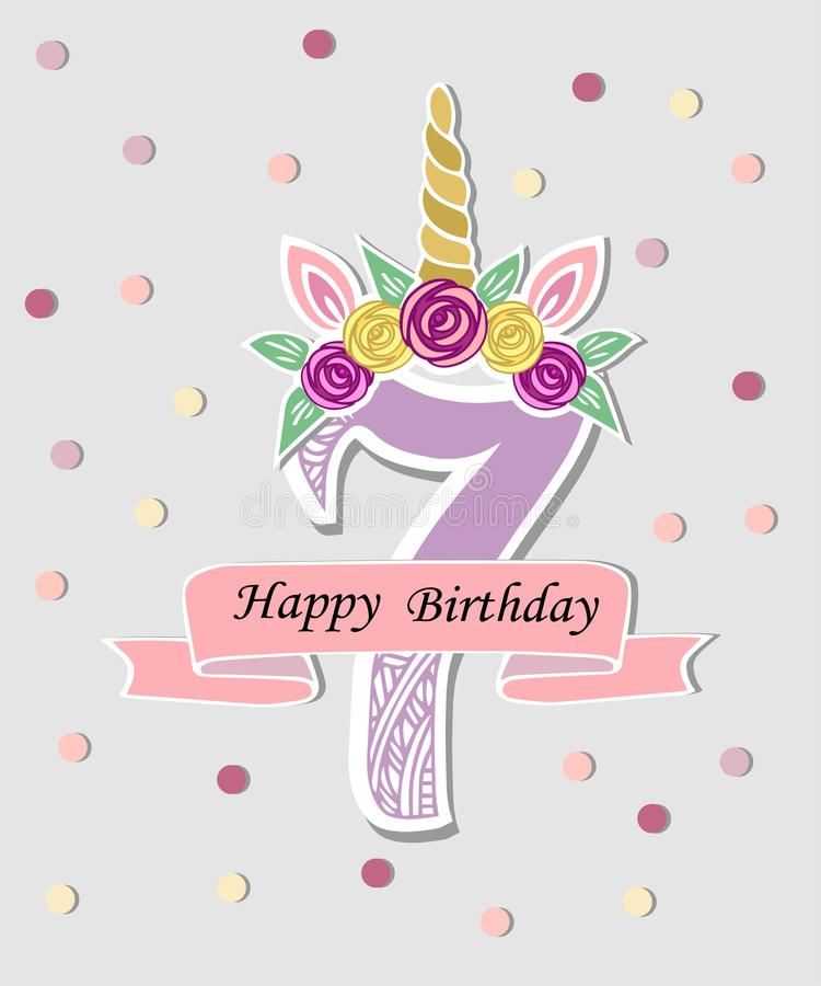 Vector illustration with number Seven, Unicorn Horn, ears and flower wreath. stock illustration
