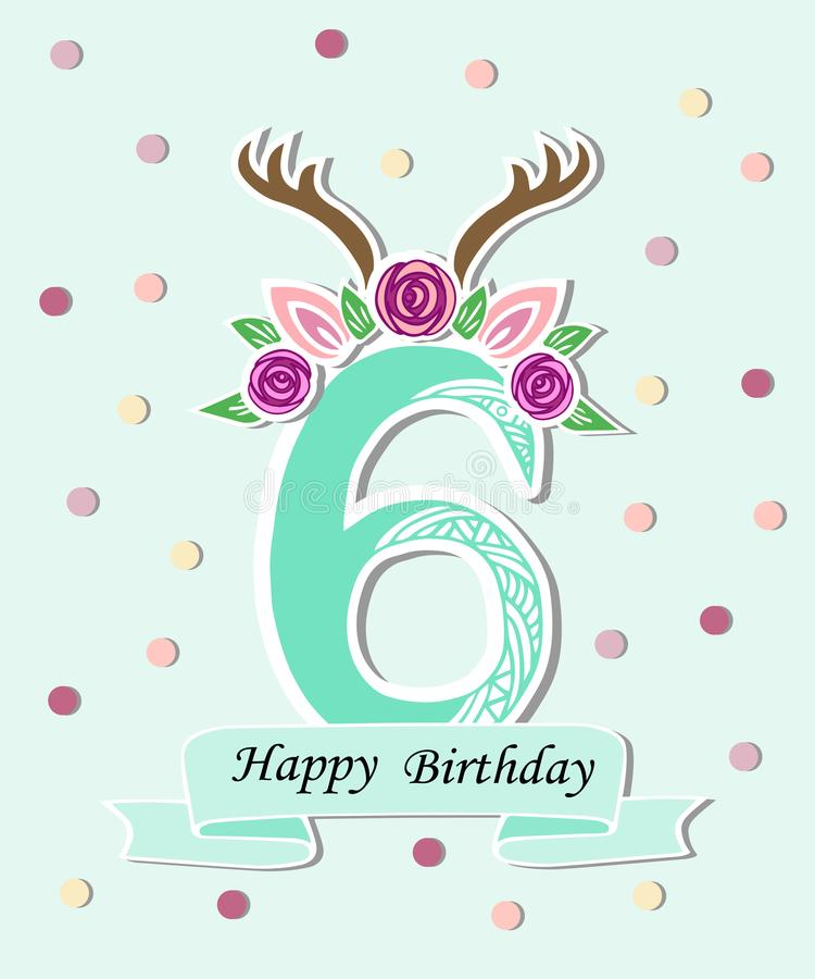 Vector illustration number Six with antlers royalty free illustration