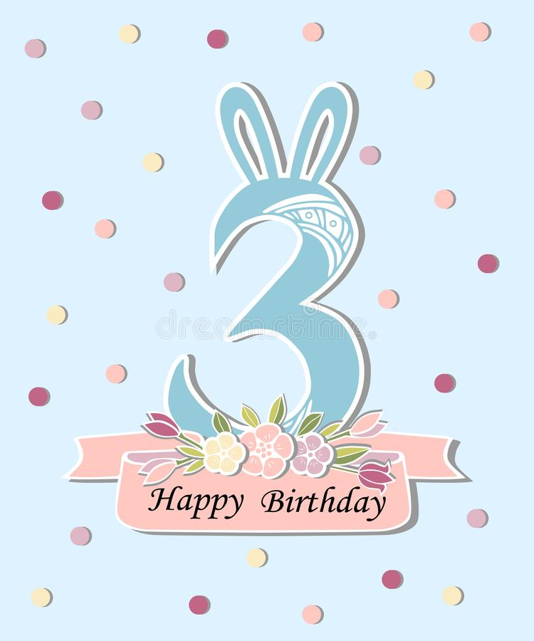 Vector illustration with number three bunny ears and floral wreath download vector illustration with number three bunny ears and floral wreath stock illustration maxwellsz